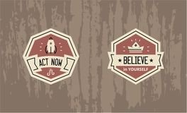 Act now - Believe in yourself - motivational badge design. Vector motivational badges - emblems for inspiration and encouragement - rocket launch and shiny crown Royalty Free Stock Images