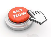Act Now Button. Three dimensional illustration of Red Button  With Act Now Word and Cursor Stock Photography