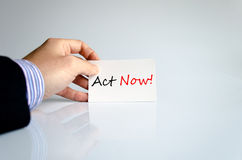 Act Now Concept. Over White Background Stock Photo