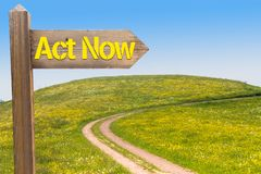 Act Now Concept. Signpost with the Words Act Now under Blue Sky and in Front of Summer Meadow royalty free stock photo