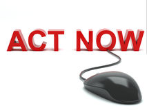 Act Now connected to a computer mouse Stock Photo
