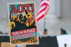 March for Our Lives poster during the march in 2018 in Los Angeles royalty free stock photo