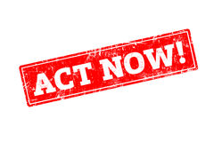 ACT NOW word written on red rubber stamp. ACT NOW word written on red rubber stamp with grunge edges Royalty Free Stock Image