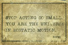 Act so small Rumi. Stop acting so small. You are the universe - ancient Persian poet and philosopher Rumi quote printed on grunge vintage cardboard Royalty Free Stock Photo