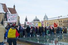 acta против протеста Румынии Стоковые Изображения