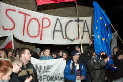 acta anti poland Royaltyfria Foton