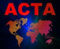 ACTA-Auffassungtexte und Weltkarte Lizenzfreie Stockfotos