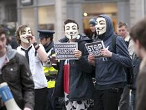 ACTA Protest on the streets of Dublin Royalty Free Stock Image