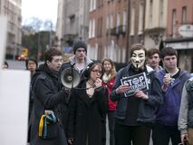 ACTA Protest on the streets of Dublin Royalty Free Stock Photo
