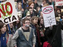 ACTA Protest on the streets of Dublin Stock Photo