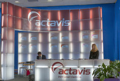 Actavis american pharmaceutical company booth royalty free stock photos