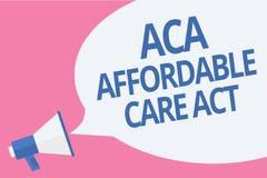 Acte abordable de soin des textes ACA d'écriture de Word Concept d'affaires pour fournir le traitement bon marché au patient méga illustration libre de droits