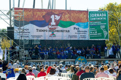 Acte commémoratif du jour des travailleurs dans la ville de Montevideo images stock
