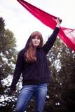 Acte d'émeute d'un activiste féminin Photo libre de droits