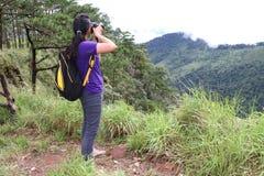 Acte de fille dans la forêt de pin image libre de droits