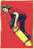 Acte de patineur sur le style disponible de dessin de planche à roulettes illustration libre de droits