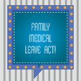 Acte médical de congé de famille d'apparence de signe des textes Le droit du travail conceptuel de la photo FMLA couvrant des emp illustration libre de droits