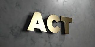 Acte - signe d'or monté sur le mur de marbre brillant - illustration courante gratuite de redevance rendue par 3D illustration stock