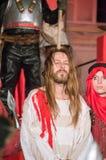 Acteur comme Jesus Christ à la passion de nuit de Jesus Christ Play à Danzig Images libres de droits