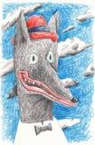 Acteur de loup dans un chapeau rouge Illustration pour des éditions et des affiches dans l'intérieur illustration stock