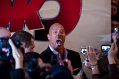 Acteur Dwayne (de Rots) Johnson in Moskou Stock Fotografie