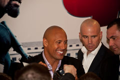Acteur Dwayne (de Rots) Johnson in Moskou Stock Afbeelding