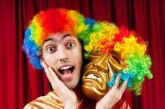 Acteur met maks - grappig theaterconcept Royalty-vrije Stock Foto's