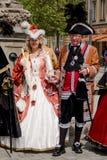 Acteurs dans des costumes historiques - vieille ville de Bayreuth photographie stock