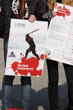 Actie om de jonge zadelrob te beschermen. Stock Foto's