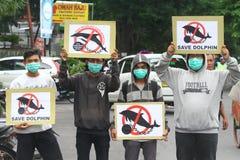 Actie om dolfijnen tegen de circuszaken te beschermen Stock Foto