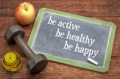 Actief ben, gezond, gelukkig royalty-vrije stock afbeeldingen