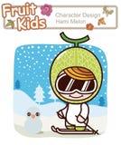 Actief Jong geitje 1  De Ski van de winter Vector Illustratie