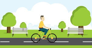 Actief jong personenvervoer op fiets Stock Afbeelding