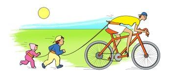 Actief kindermeisje Twee die kinderen voor een babysitter in werking worden gesteld, die een fiets berijden stock illustratie