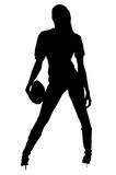 Actief Meisje Footballl Royalty-vrije Stock Afbeelding