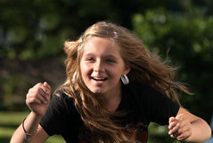 Actief meisje in openlucht Stock Foto's