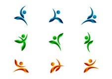 Actief, mensen, embleem, karakter, geschiktheid, symbool, gezond, atleet, lichaam, vector, pictogram en ontwerpreeks Stock Afbeelding