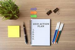 2019 Actieplan op blocnote Stock Foto