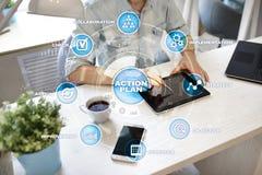 Actieplan op het virtuele scherm Het concept van de planning Bedrijfs strategie stock foto's