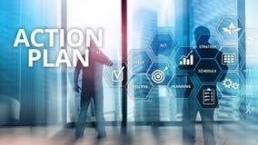 Actieplanstrategie de Richting van de Planningsvisie Financieel concept op vage achtergrond vector illustratie