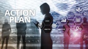 Actieplanstrategie de Richting van de Planningsvisie Financieel concept op vage achtergrond royalty-vrije illustratie
