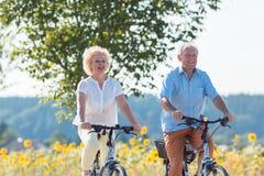 Actieve bejaarde paar berijdende fietsen samen in countrysid stock foto's