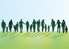 Actieve familiesilhouetten Stock Afbeeldingen