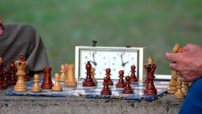 Actieve gepensioneerden, twee oude vrienden die schaak spelen bij park stock videobeelden