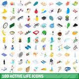 100 actieve geplaatste het levenspictogrammen, isometrische 3d stijl Stock Afbeelding