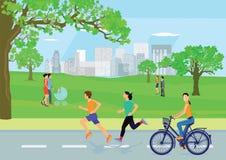 Actieve individuen in stedelijk park royalty-vrije illustratie
