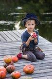 Actieve jongenszitting met pompoenen en appelen Royalty-vrije Stock Afbeeldingen