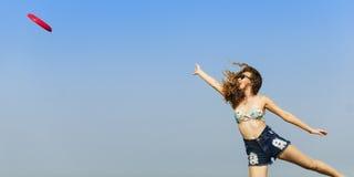 Actieve Mensen die Frisbee-Vangstconcept spelen stock fotografie