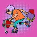 Actieve oude dame met het winkelen royalty-vrije illustratie