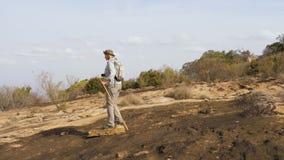 Actieve Rijpe Vette Vrouw die op een Steenplateau van Gekoeld Lava On een Vulkaan wandelen stock videobeelden